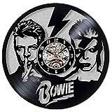 CNLSZM David Bowie Reloj De Vinilo 5D Disco De Vinilo Reloj De Pared Dormitorio Decoración De Pared Regalo-No LED