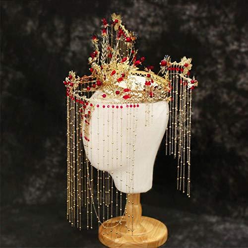 Estilo chino cuentas rojas rama de oro cortina borla fénix corona pendientes conjunto estilo antiguo espectáculo clásico Wo ropa cabeza joyería
