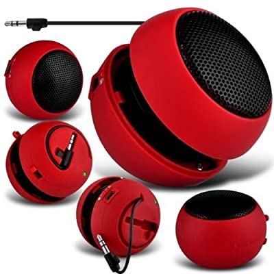 N4U Online® - Microsoft Lumia 535 Mini Mini Capsule Travel Rechargable Loud Bass Speaker 3.5mm Jack to Jack Input - Red from N4U Online®