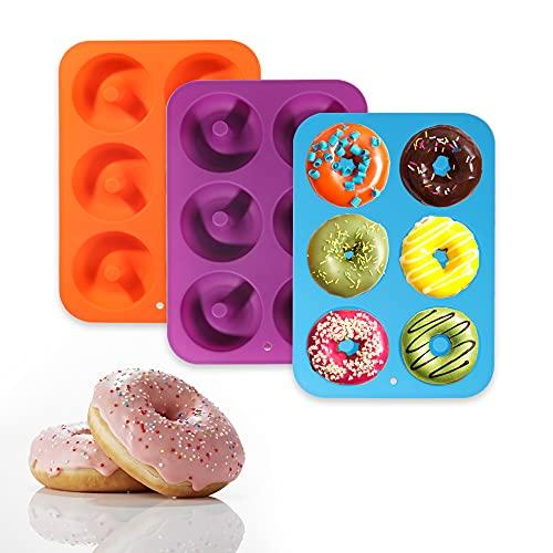 Donut Molds, 3 moules anti-adhésifs, 6 trous en silicone, moules en silicone à haute température, sûr et à haute température, utilisés pour gâteaux, biscuits, agel, muffins, vert, bleu, rose rouge (A)