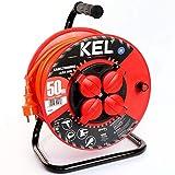 KEL -LECTRIC Avvolgicavo per aeratori con 50 m in PVC – Cavo 3 x 1,5 mm2, 230 V/16 A – Avvolgicavo in plastica con 4 contatti di protezione, presa IP44
