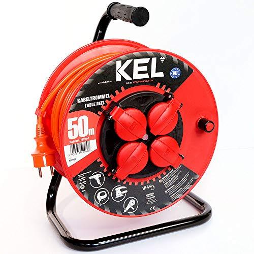KEL -ELECTRIC - Tambor de cable para jardín con 50 m de PVC - Cable 3 x 1,5 mm², 230 V/16 A - Cable alargador de plástico con 4 enchufes de protección IP44
