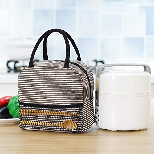 Samifa Portable Stripe Lunch Bag Thermal Canvas Food Container Tote Handbag Lunch Bags