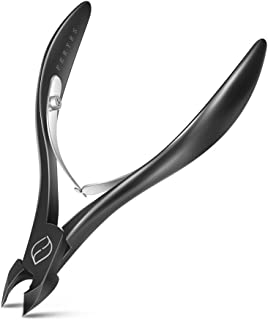 FERYES Cuticle Nippers 1/2 Jaw - Professional Grade Stainless Steel Cuticle Trimmer Scissors and Double Springs Nail Clipper Cutter Remover, Pedicure Manicure Tool, FL-N301,BLACK