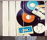 chinawh Cortinas Opacas Discos Casetes Pizarrones Música 280X180Cm Termicas 3D Estampado Cortinas Con Aislamiento Térmico Para Niños Sala De Estar Dormitorio Con Ojales 2 Piezas Decoraciones De Ventan