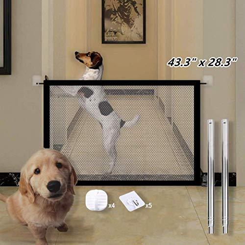 Updayday Puerta mágica para Perros Malla Plegable portátil Puerta mágica Barrera de Seguridad retráctil para Mascotas para el Uso de la Puerta de la Escalera Interior de la casa