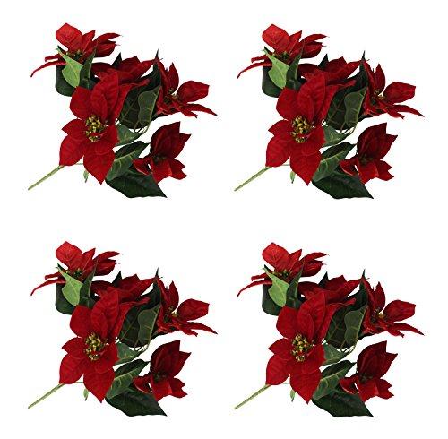 Decoline Weihnachtsstern künstlich 4 Stück (B - Busch klein)