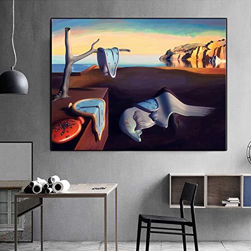 HGlSG Pintura Abstracta Salvador Dali Surrealismo Arte de la Pared Lienzo Pintura Cuadros de Pared para Sala de Estar Imagen Decoración para el hogar A4 70X100cm