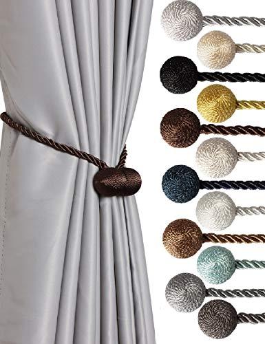 SBRO Coffee Dark 2pcs Strong Magnetic Curtain Tiebacks Modern Upgrade Unique 2021 Drape Tie Backs Decorative Twisted Handmade Rope Holdback for All Window Draperies (2, Coffee Dark)