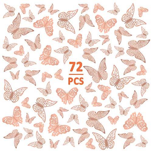 Chudian 72pcs 3D Mariposas Pegatinas de Pared, Decoraciones de Mariposas Decoración de Bebé Mariposa para Adornos de Dormitorio Hogar Guardería Aula Oficina Oro Rosa con 3 Tamaños