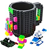 BOMENNE Build-on Brick Mug,Novelty Creative Compatible with Lego DIY building Blocks Coffee Cup with bricks,is unique Christmas gift Idea (Black)