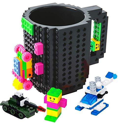 BOMENNE Build-on Brick Mug,Novelty Creative DIY building Blocks Puzzle Cups with 3 packs of Blocks,Unique Kids Party Fun Cup Compatible with Lego,Father's day Present Christmas Gifts,Black
