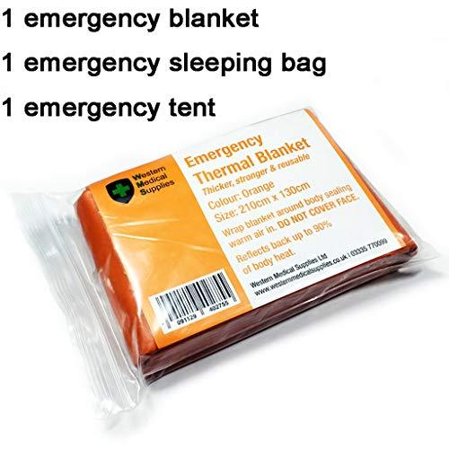 WSC Couverture d'urgence Équipement De Survie, 1 Couverture De Sauvetage, 1 Sac De Couchage Réfléchissant, 1 Tente d'urgence
