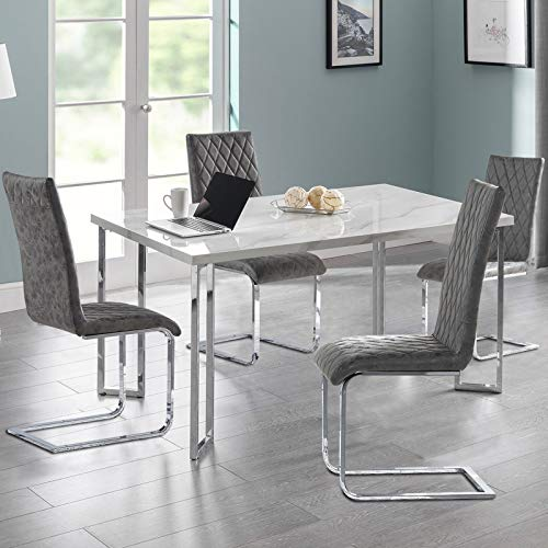 TONVISION Set of 4 Dining Chairs Diamond Stitched Distressed Leather Style Padded Seat Sturdy Chrome Steel Legs Kitchen Furniture (4, Charcoal Grey)
