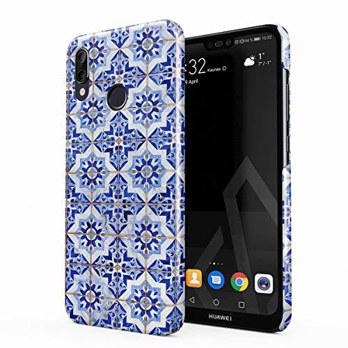 BURGA Hülle Kompatibel mit Huawei P20 LITE - Handy Huelle Weiß Blau Mit Gold Marokkanisch Fliesen Muster Mosaik Marmor Mode Dünn Robuste Rückschale aus Kunststoff Handyhülle Schutz Hülle Cover