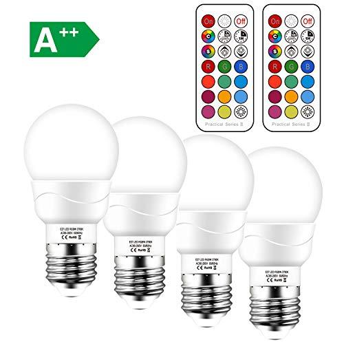 Ampoule LED Couleur Changement de Couleur Télécommande Dimmable Blanc Froid 6000K, E27 5W équivalent 50W Ampoule Led RGB 12 Choix de Couleur (Lot de 4)