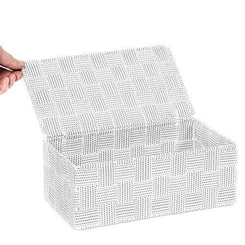 Compactor, Boîte avec Couvercle, Sangle Tressée, Blanc, Dimensions: 27 x 15 x H.11 cm, RAN8560