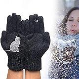 Guantes con estampado de gato y pájaro acolchados en frío para exteriores, guantes de punto con pájaro de gato, guantes de punto con gato de dibujos animados (Negro)
