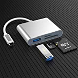 USB C to SD Card Reader, Micro SD Memory Card Reader, Type C to SD Card Reader Adapter 2TB Capacity for MacBook Pro iPad Pro Camera Samsung Galaxy S10/S9/S8 and Other Type C Device