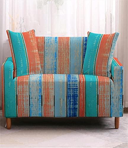TXSA Fodera per divano 1/2/3/4 posti fodera per divano elasticizzato morbido elasticizzato Mimetica blu Allungabile Universale Fodera per Divano,2 persona 145-185CM