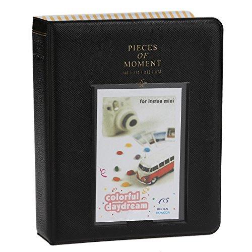 Fetoo 64 Taschen Mini Album Schutzhülle Foto Album Fotohüllen für Mini Fujifilm Instax Miini Film 7S/8/25/50/90, 14 * 11cm (Schwarz)