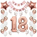 Geburtstagsdeko 18 Rosegold Geburtstag Deko I 18. Geburtstag Mädchen Frauen I Party Deko Luftballons 18 Geburtstag I Happy Birthday Girlande Ballons I Birthday Decorations I Geburtstag Frau Rosé-Gold