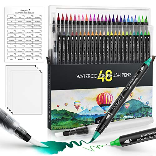 Magicfly 48 Colors Watercolor Brush Pens with 2 Blending Brushes, Dual Real Brush Tips with Flexible Nylon and 4mm Fine Tip, Paint Markers with 5 Paper for Drawing, Coloring, Calligraphy