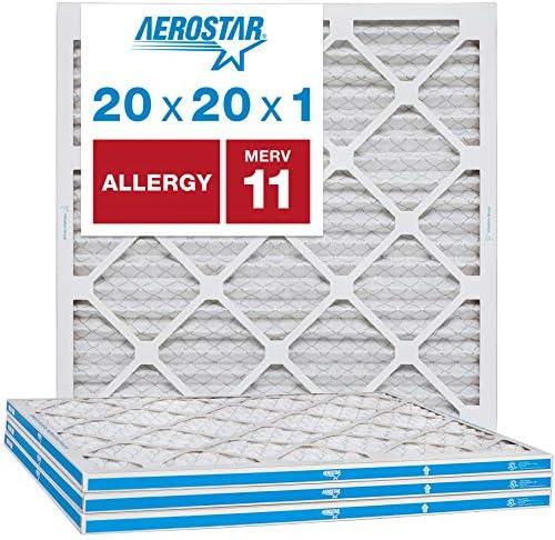 Aerostar 20x20x1 MERV 11 4 Pack Allergen Pet Dander 20x20x1 MERV 11 Pleated Air Filter Made product image