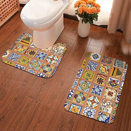NiYoung Luxurious Bathroom Rug Mat Set Large Size Anti Slip Toilet Floor Mat Absorbent Standing Mat for Bath Tub, Kitchen Rug + U-Shaped Bath Mats, Talavera Mexican Tiles Rug