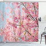 ABAKUHAUS Blumen Duschvorhang, Japanische Sakura Kirsche, aus Stoff inkl.12 Haken Digitaldruck Farbfest Langhaltig Bakterie Resistent, 175 x 200 cm, Hellrosa Baby Blau