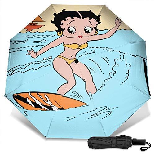 Paraguas Compacto Anti-Ultravioleta De Viaje Plegable Manual De Apertura/Cierre, Sombrilla Plegable Ligera para Exteriores A Prueba De Viento, Betty Boop surfeando el océano