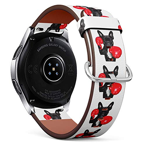 S-Type Quick Release Leather Bracelet Watch Band Strap Replacement Wristband 20mm Watch Band - Funny Boxing French Bulldog