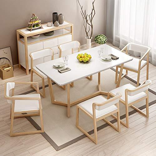Eettafel LKU Moderne massief houten eettafel eenvoudige huishoudelijke verf massief houten rechthoekige tafel en stoel combinatie, 1,6 m tafel zonder stoel
