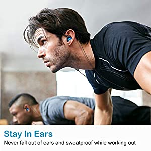 ROVKING Over The Ear Earbuds for Running, Wrap Around Ear Wired Sports Headphones for Workout Exercise Jogging, Sweatproof in Ear Earphones Ear Buds with Mic for Cell Phones MP3 Laptop, Blue