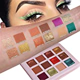 GL-Turelifes 12 Colors Glitter Eyeshadow Palette Wet Powder with Mirror Earth Color Pearlescent Sequins Eye shadow Cream Palettes Easy to Makeup, Waterproof & Long Lasting (#01)