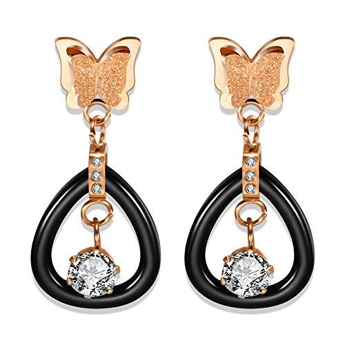 BJINUIY Mode gefrostet Handwerk Schmetterling Ohrringe, Edelstahl, Keramik Diamant Ohrringe, Wilde Kostüme, Machen Sie Ihr Leben angenehmer Rose Gold