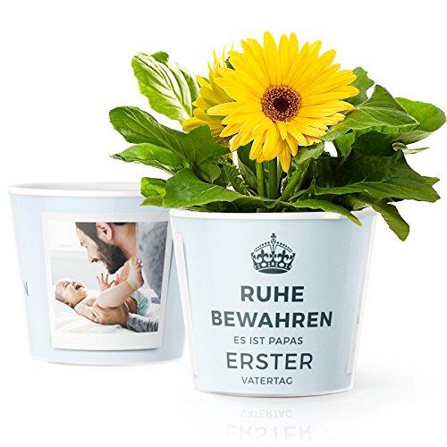 Facepot Blumentopf (ø16cm) | Geschenk zum 1. Vatertag mit Bilderrahmen für Zwei Baby Fotos (10x15cm) | Ruhe bewahren es ist Papas Erster Vatertag