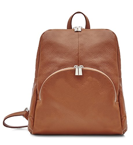 Italian Leather Backpack - Soft Leather- 100% Italian Leather (Dark Tan)