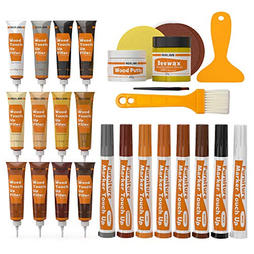 REALINN Wood Furniture Repair Kit- Set of 28 - Touch Up Markers, Fillers with Wood Putty - Repair Scratch, Cracks, Hole, Discoloration for Wooden Door, Floor, Table, Cabinet