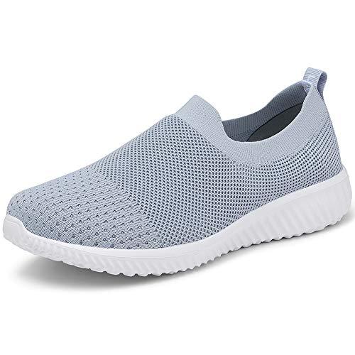 LANCROP Women's Walking Nurse Shoes - Mesh Slip on Comfortable Sneakers 5 US, Label 35 Grey