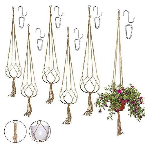 6PCS Paniers Suspendus en Macramé,Macramé Plant Hangers,Suspension Corde Plante Macramé,Corde de Coton Pot Suspendu,Suspendre Pot de Fleur Plante,Jute Décorative