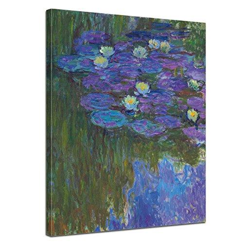 Wandbild Claude Monet Seerosen in voller Blüte - 50x60cm hochkant - Alte Meister Berühmte Gemälde Leinwandbild Kunstdruck Bild auf Leinwand