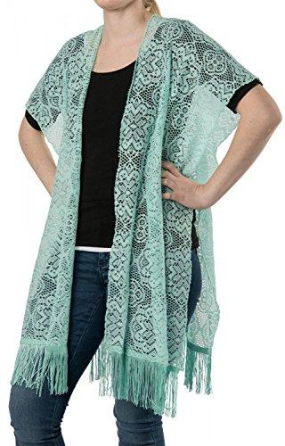 styleBREAKER vest in gehaakte look in bloemmotief met franjes, zonder sluiting, zomer, dames 08010021