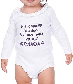 I'm Spoiled No One Will Spank Grandma Long Sleeve Girl Baby Ruffle Bodysuit