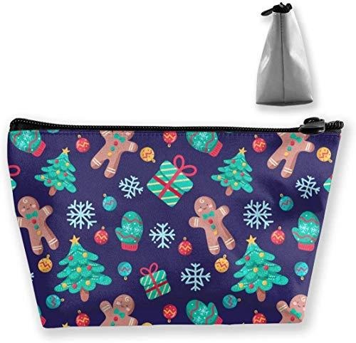 Weihnachtsbaum Kekse Schminktasche Große Trapez Aufbewahrung Reisetasche Waschen Kosmetikbeutel Stifthalter Reißverschluss Wasserdicht Tragbar 8600