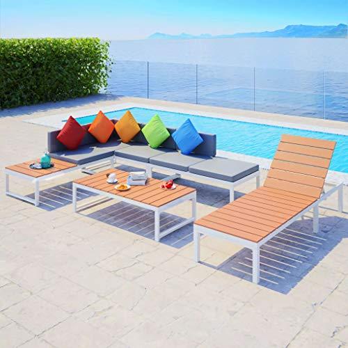 Jeu de canapés et chaise longue de jardin 20 pcs en Aluminium WPC Dimensions du canapé à 2 places (moitié avec siège en WPC) 113 x 66 x 65 cm (I x P x H) ensemble de canapés d'angle pour jardin
