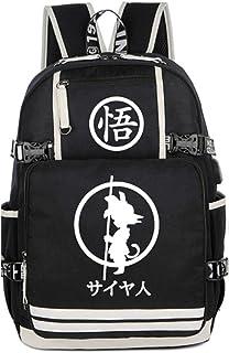 Cosstars Dragon Ball Anime Mochila Escolar Estudiante Backpack para Portátil con Puerto de Carga USB Amarillo