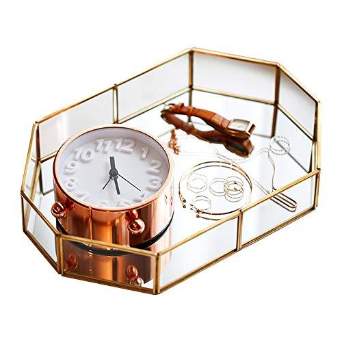 Asttic Geométrica Perfume Bandeja de almacenamiento de vela de cristal del espejo de cosmética Bandeja de escritorio almacenaje de la joyería placa de bronce bandeja Organizador metal decoración del h