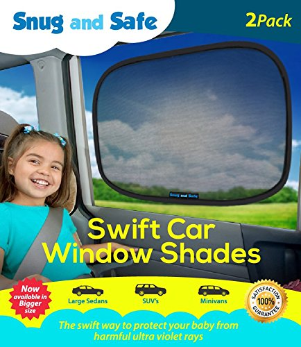 Snug and Safe Swift Car Window Shades with UV Heat Rays Glare, 14x21-Inch, 2-Pack