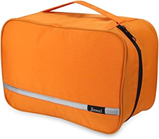 Foldable Hanging Toiletry Bag for Men & Women, Portable Waterproof Wash Bag, Lightweight Travel Dopp kit Shaving Bag with 4 Compartments Large Capacity(Orange)